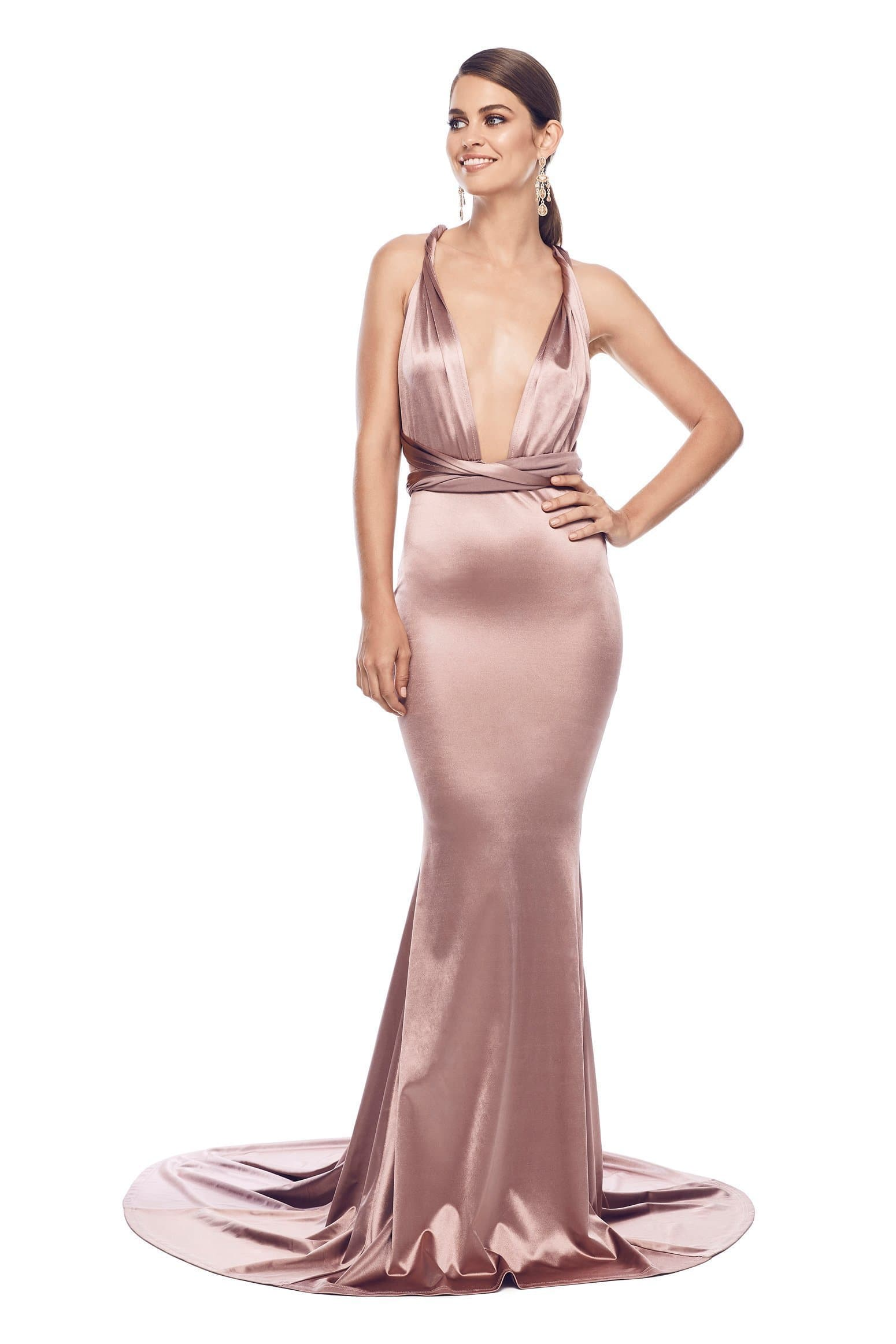 e20e0d34e56b ... Lena - Rose Gold Satin Multiway Gown with Mermaid Train   Plunge Neck