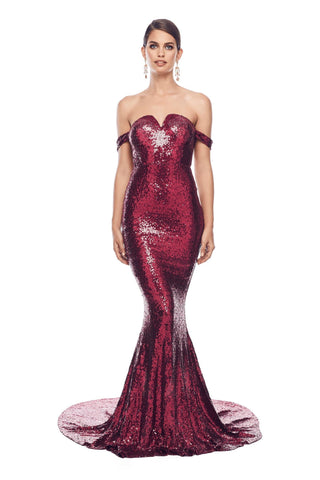 Jonquille - Burgundy Sequin Gown with Drape Off-Shoulder Straps