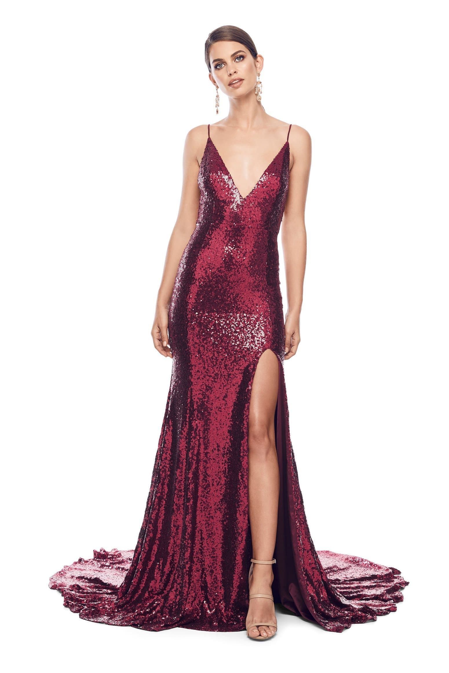 Armanah - Burgundy Sequin Gown with V Neck, Low Back & Mermaid Train