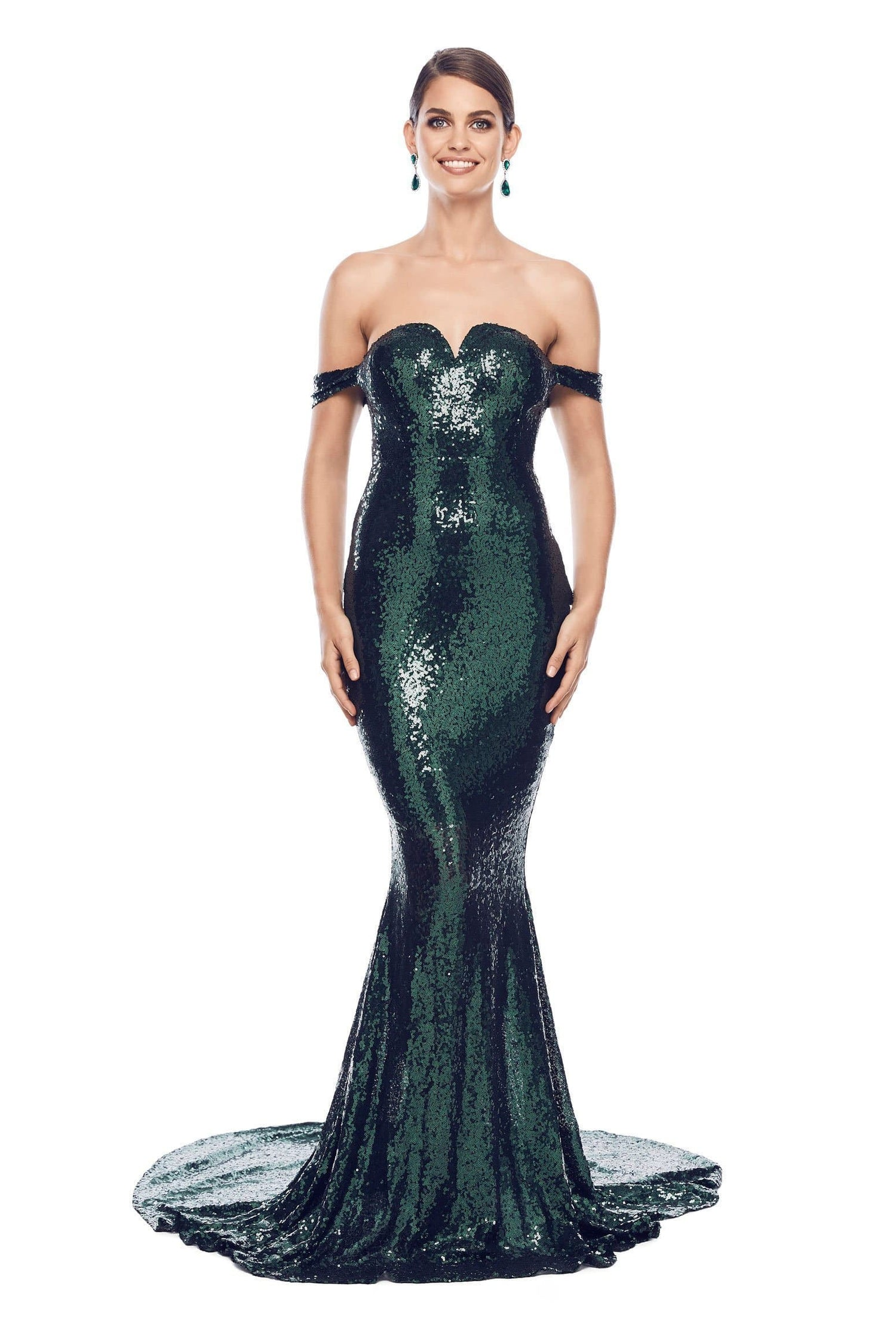 Jonquille - Emerald Sequin Gown with Draping Off Shoulder Straps