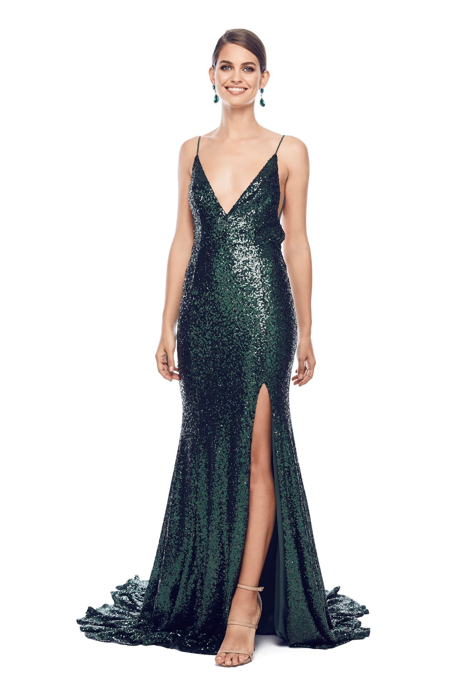 Armanah - Emerald Sequin Gown with V Neckline, Low Back and Side Slit