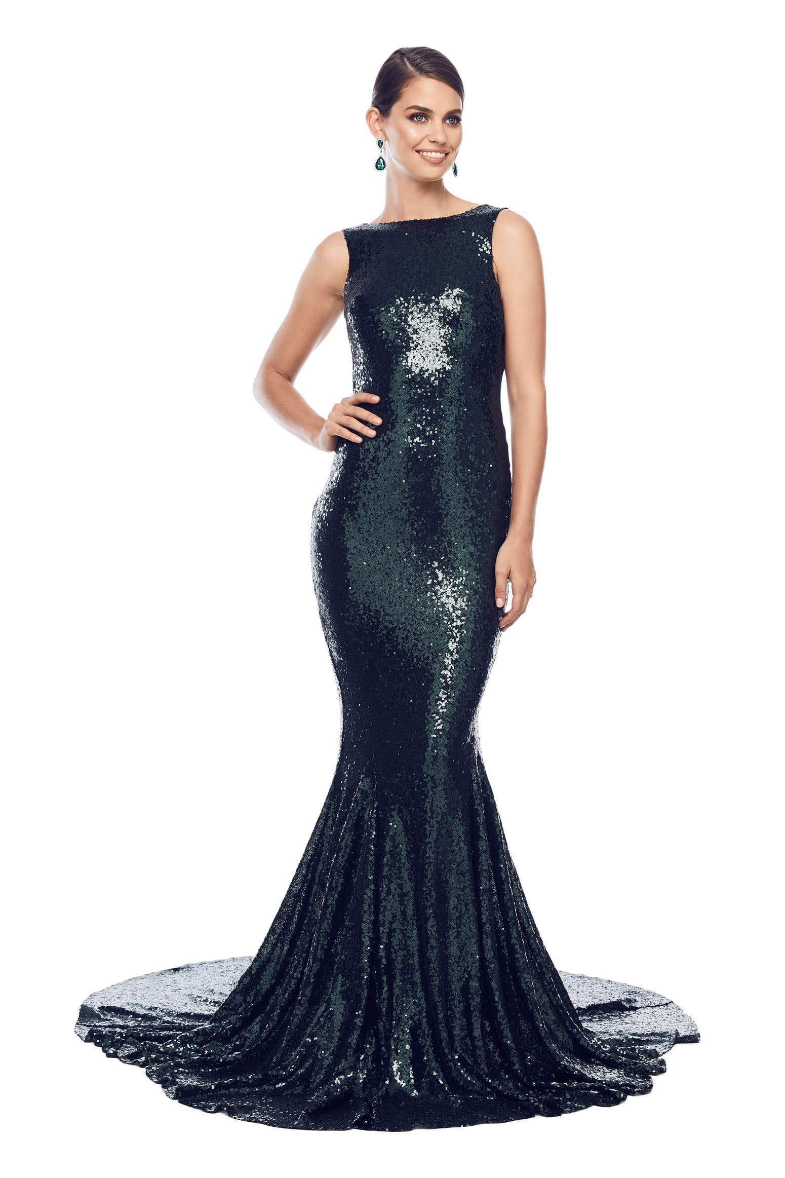 Stone Sequin Gown - Emerald