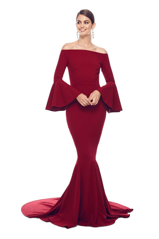 Amore - Wine Red Gown with Off Shoulder Long Flare Sleeves