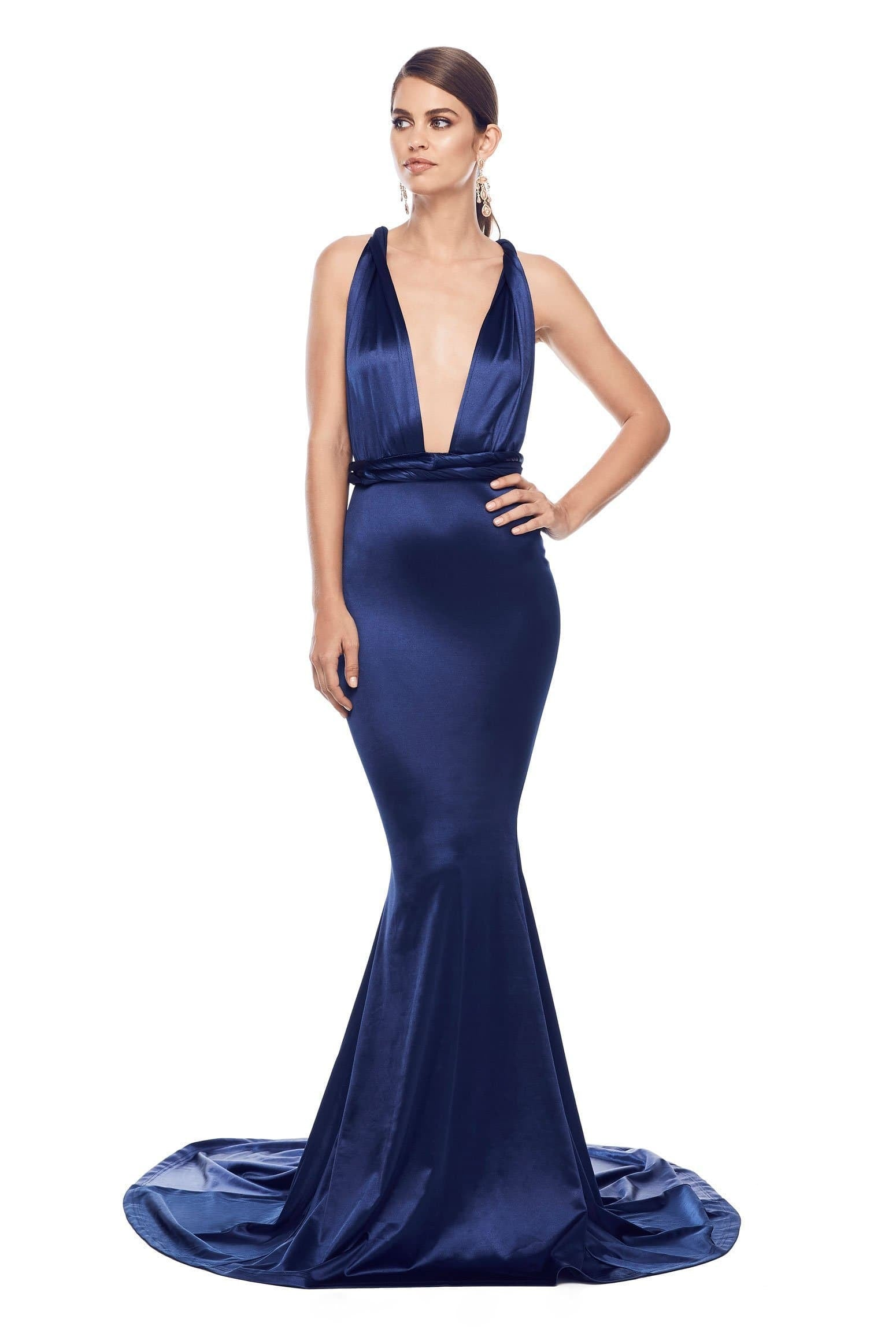 Lena - Navy Satin Gown with Mermaid Train & Plunge Neckline
