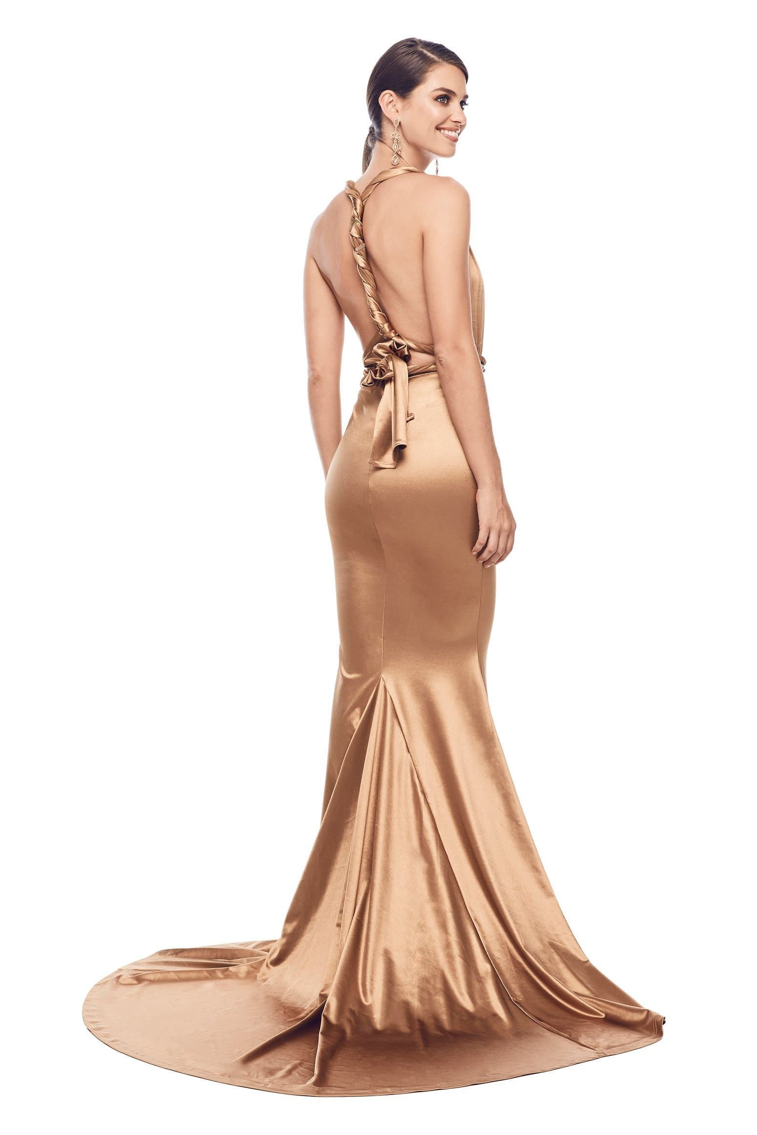 Lena - Gold Multiway Satin Gown with Plunge Neckline & Mermaid Train