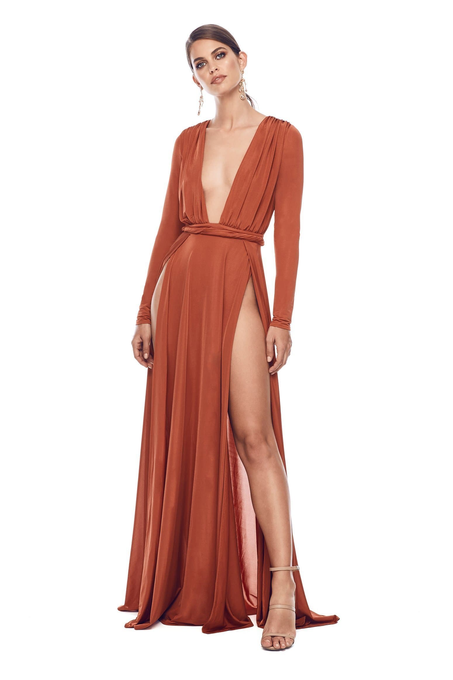 Sahara Gown - Golden Rust Jersey Long Sleeve Deep Plunge Slits Dress