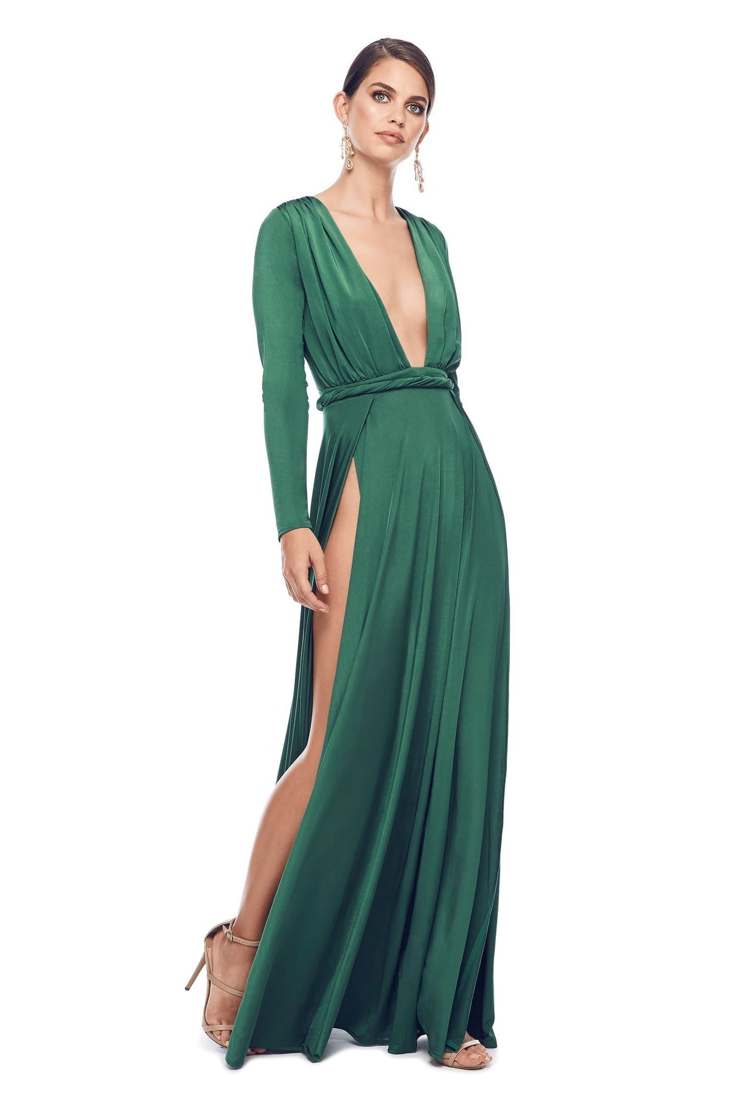 Sahara - Emerald Jersey Gown with Long Sleeves & Deep Plunge Neckline