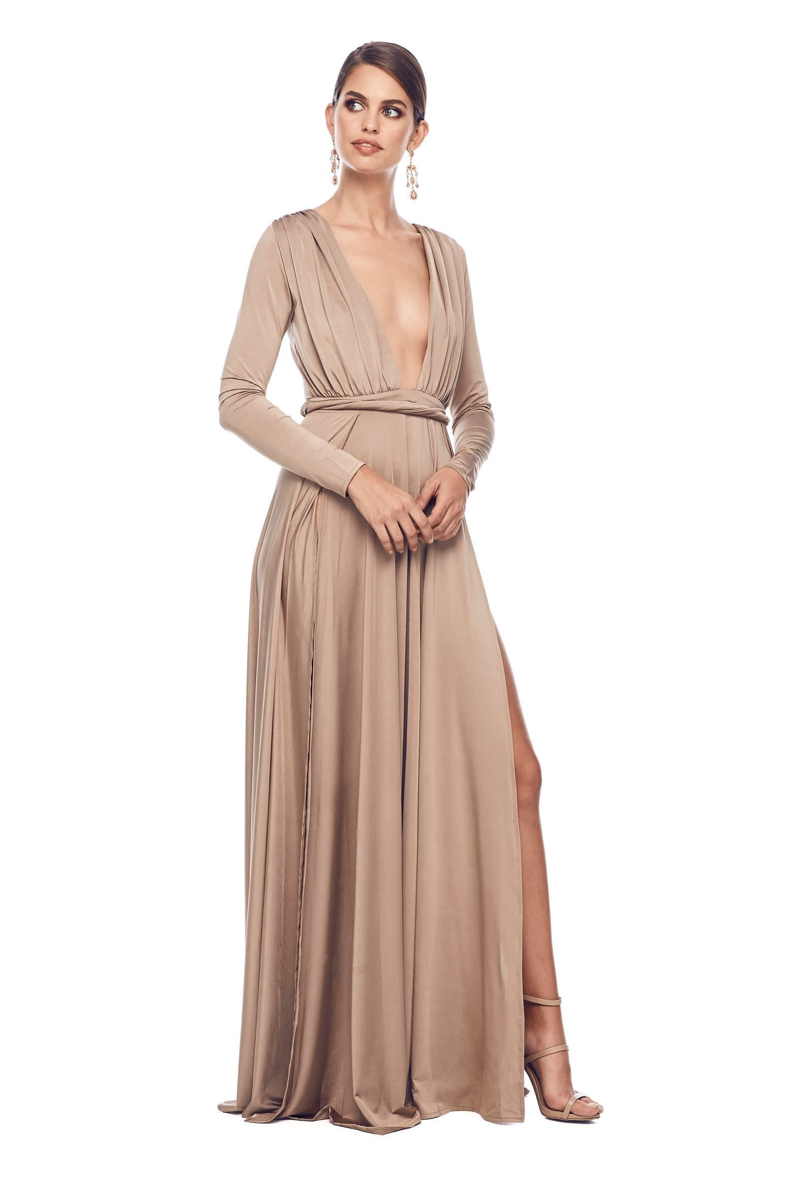 Sahara - Bronze Jersey Gown with Long Sleeves & Side Slits
