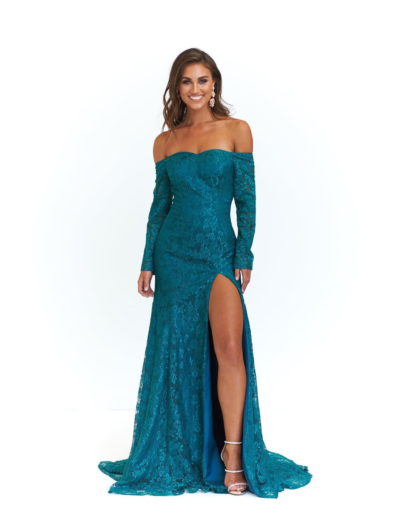 5576442dfe21 A N Duaa - Teal Off-Shoulder Gown with Long Sleeves – A N Luxe Label