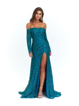 A&N Duaa - Teal Off-Shoulder Gown with Long Sleeves