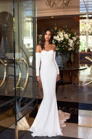 Salma - White Crepe Gown with Long Off-Shoulder Sleeves