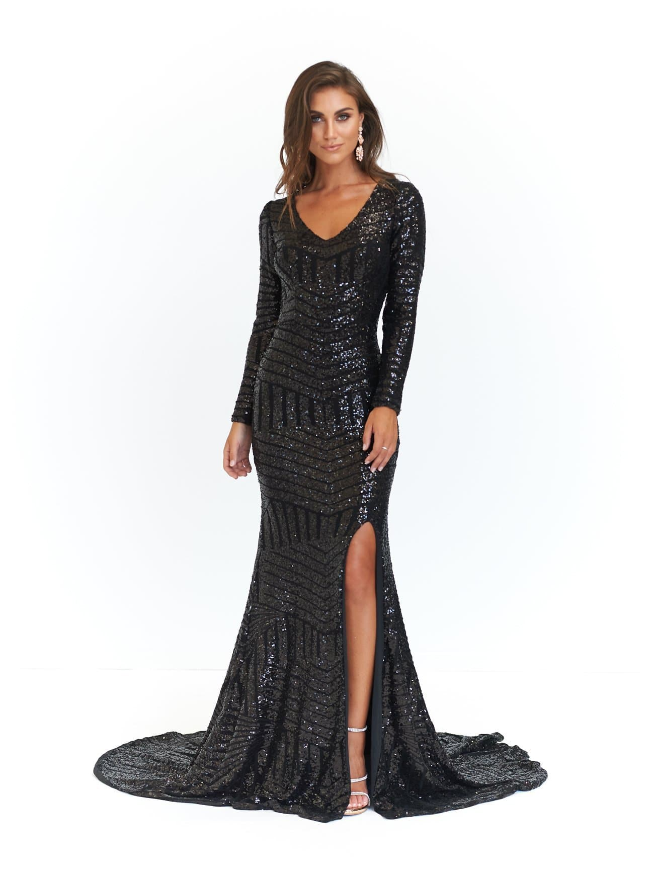 Kaya Formal Dress - Black Sequins Long Sleeve Maxi Gown Side Split