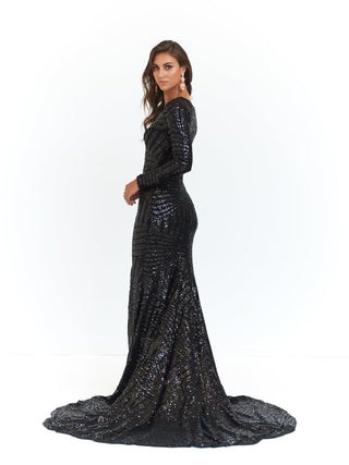 A&N Kaya- Black Sequins Dress with Long Sleeve and Side Slit