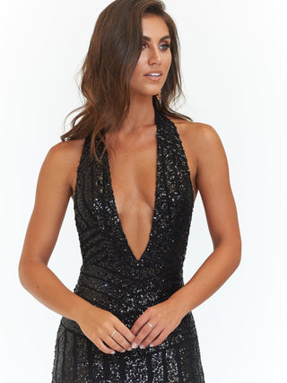 A&N Cleopatra - Backless Sequin Dress with Plunge Neck in Black