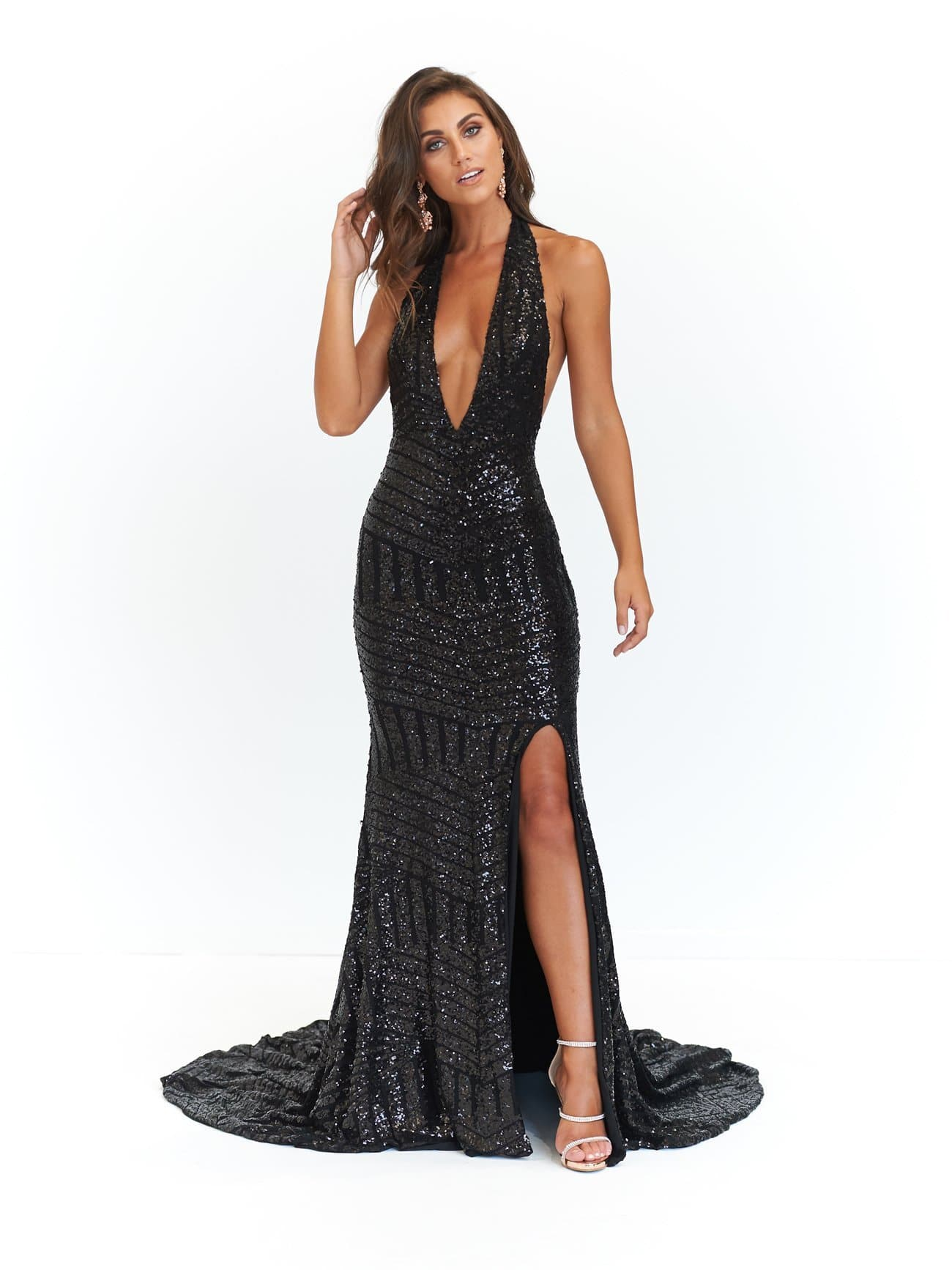 0a25a7cc155e A N Cleopatra - Backless Sequin Dress with Plunge Neck in Black ...