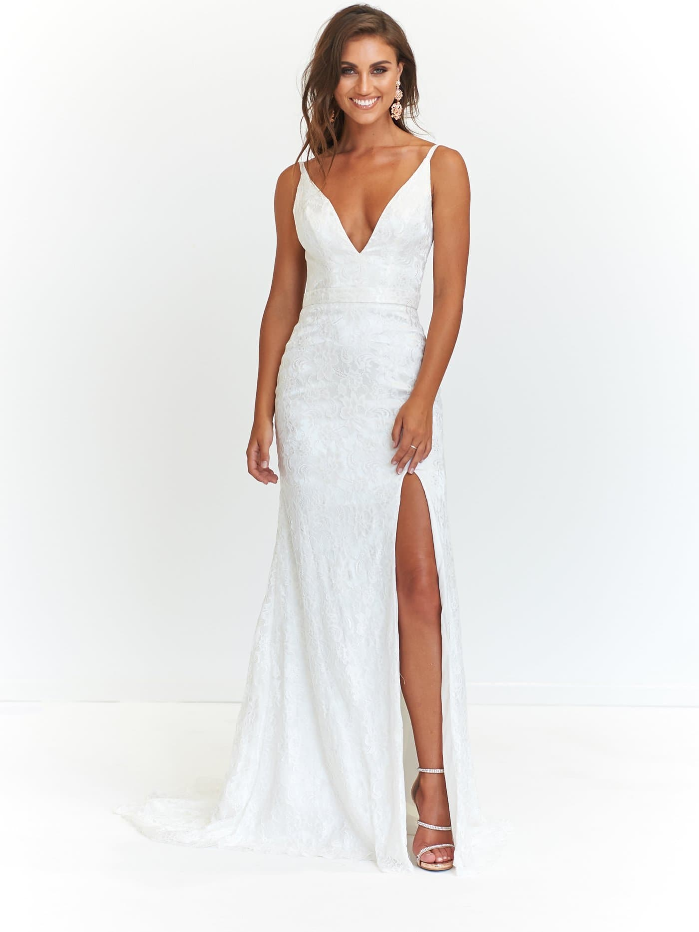 A&N Ayla Formal Dress - White Lace Backless Dress with Side Slit ...