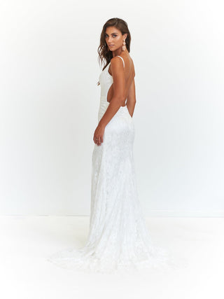 A&N Ayla Formal Dress - White Lace Backless Dress with Side Slit