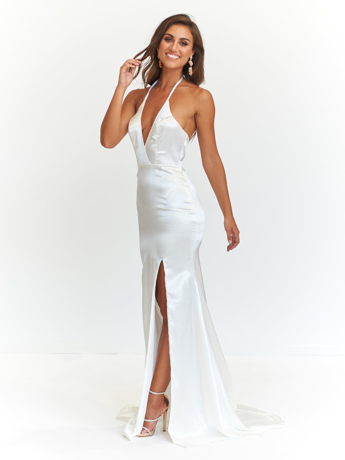 A&N Alyssa - White Satin Formal Dress with V-Neckline and Side Slit