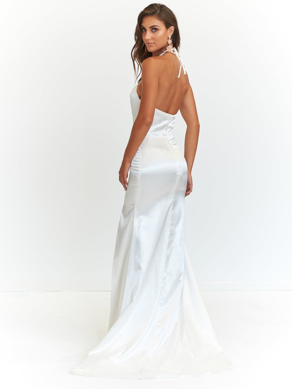 0a632aab28 ... A N Alyssa - White Satin Formal Dress with V-Neckline and Side Slit ...
