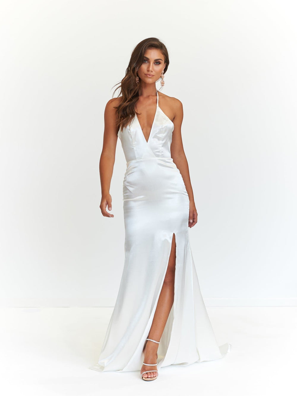 a718e747ef A N Alyssa - White Satin Formal Dress with V-Neckline and Side Slit ...
