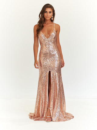 A&N Candy- Rose Gold Sequinned Dress with Slit and Lace Up Back