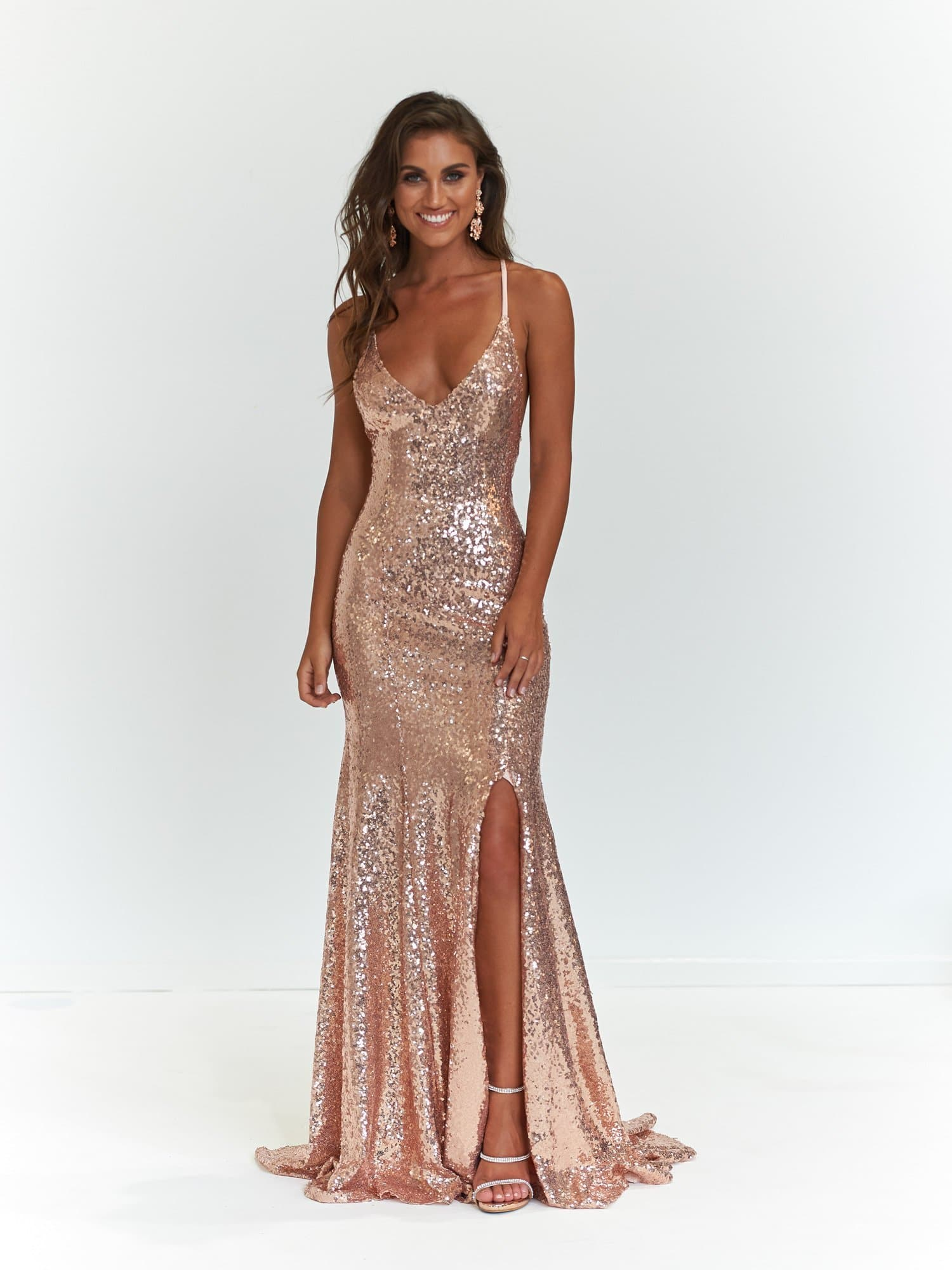Kara Formal Dress - Rose Gold Sequinned Mermaid Prom Gown Side Slit