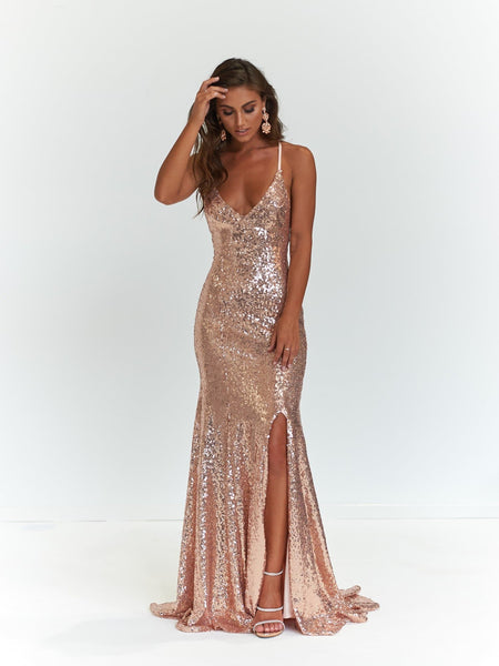 A Amp N Kara Rose Gold Mermaid Fit Gown With Lace Up Back