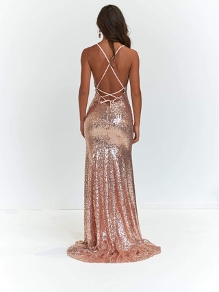 A&N Kara - Rose Gold Mermaid Fit Gown with Lace Up Back and Side Slit