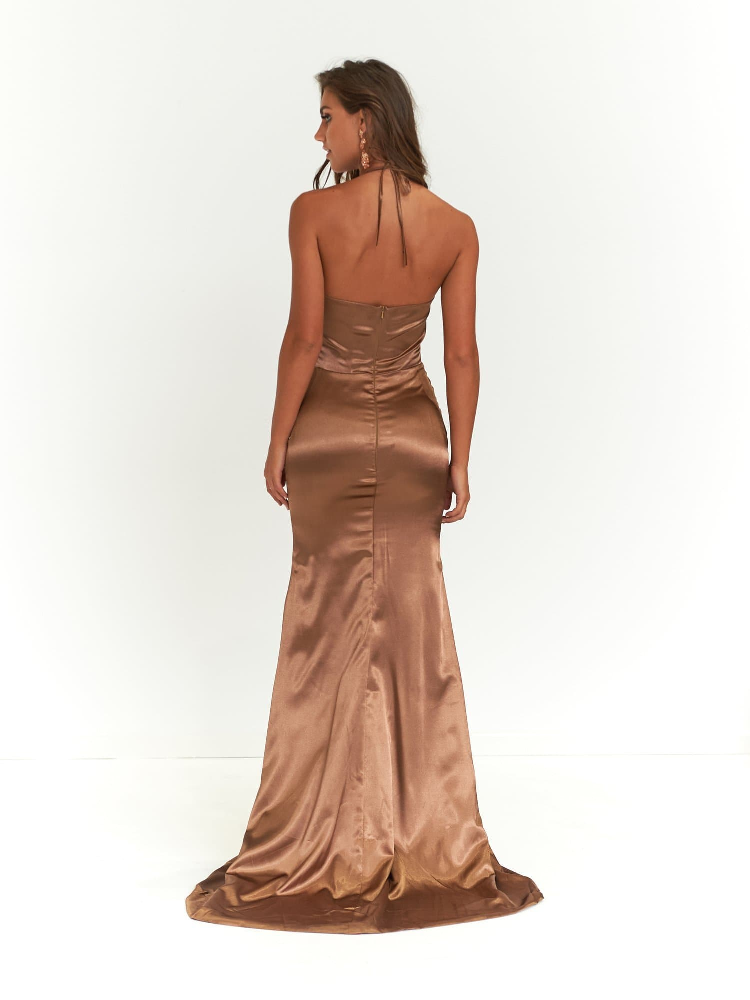 Alyssa Formal Dress - Mocha Satin V Neck Low Back Full Length Gown
