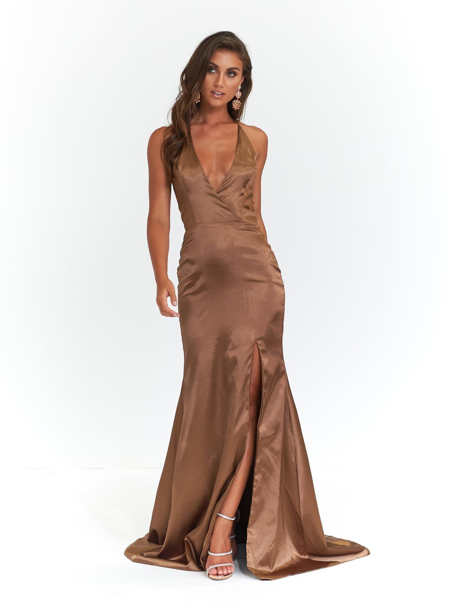 A&N Alyssa - Satin Mocha Gown with V Neck and Low Back
