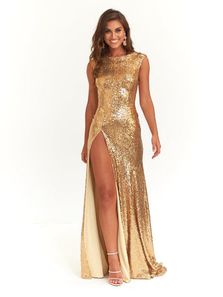 A&N Lila - Gold Sequins Formal Dress with High Neck and Side Slit