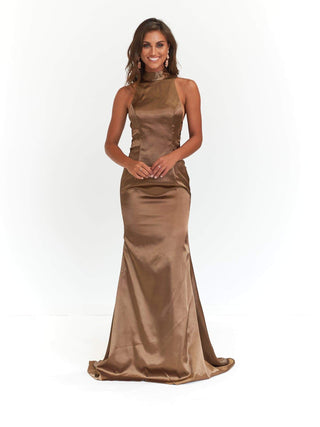 Aida Formal Dress - Khaki Satin High Neck Side Criss Cross Detail Gown