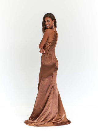 A&N Aida - Satin Mocha High Neck Gown with Criss Cross Side Detail
