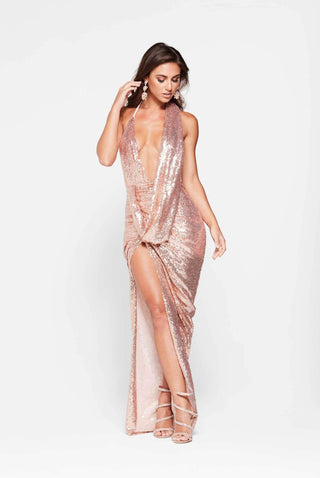 A&N Lala - Rose Gold Sequin Gown with Ruched Cowl Neck and Side Slit
