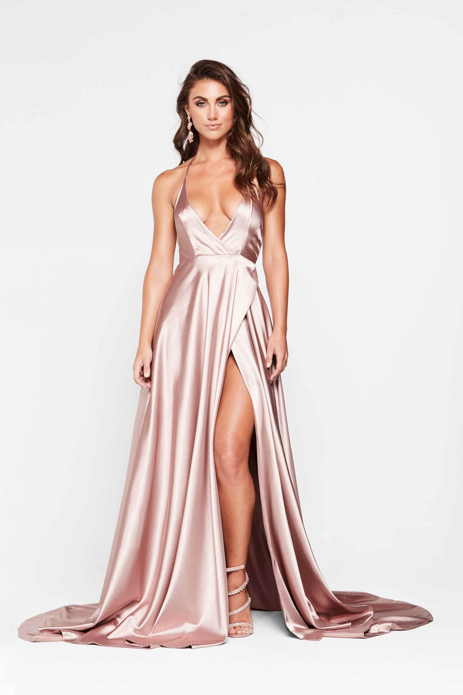 A&N Amani - Mauve Satin Dress with Side Slit and Low Back
