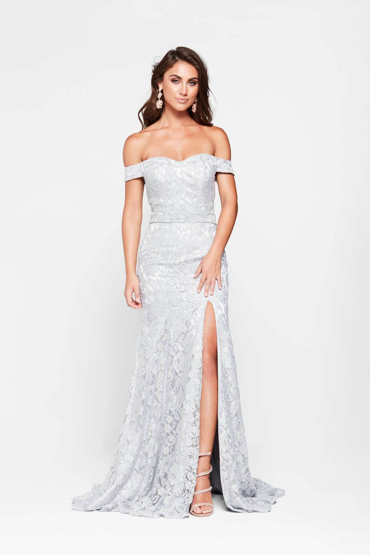 4c5b31d48486 A N Leyla - Silver Off-Shoulder Lace Gown with Side Slit – A N Luxe ...