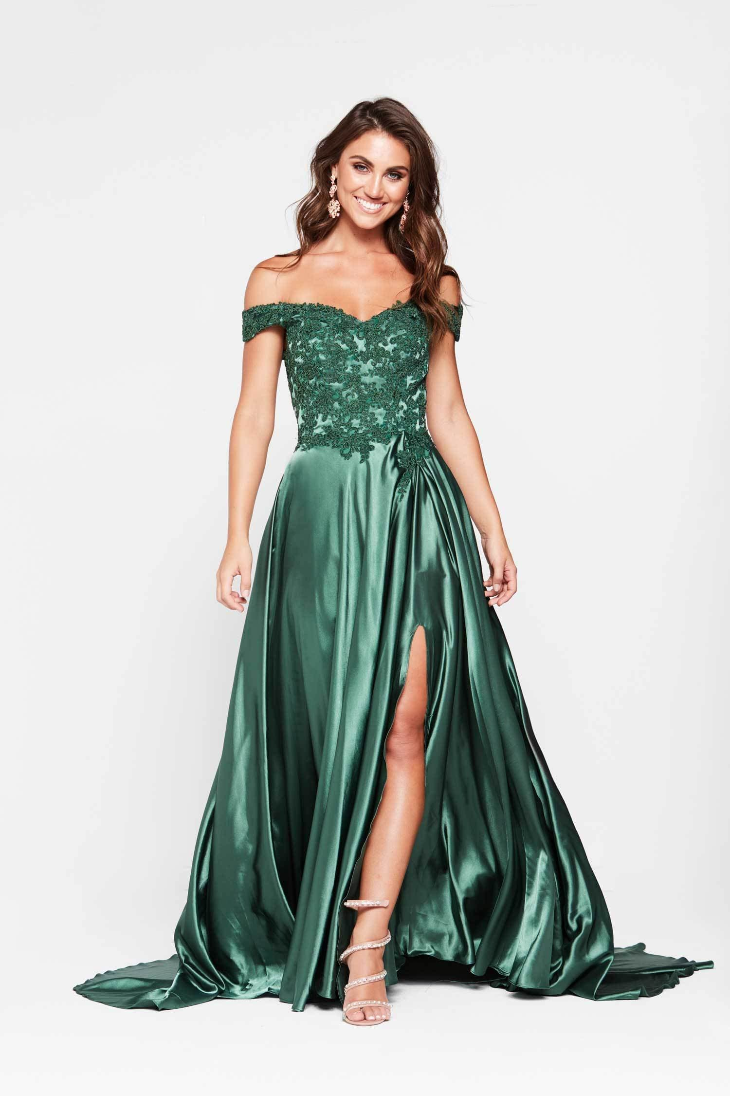 Freya Dress - Emerald Off Shoulder Lace Satin Split Full Length Gown