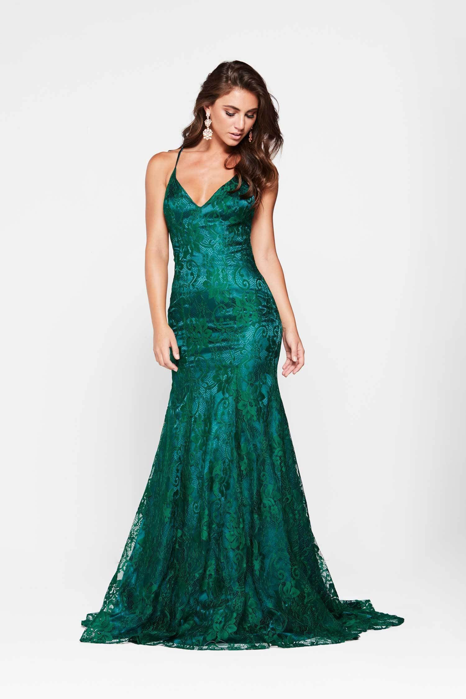 A&N Luxe Aisha Gown - Emerald Lace Up Mermaid Gown with Low Back