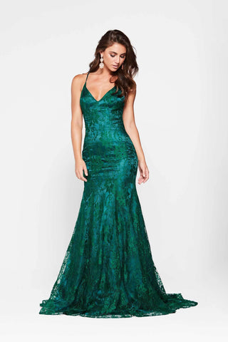 A&N Aisha - Emerald Lace Gown with Criss Cross Back and Mermaid Train