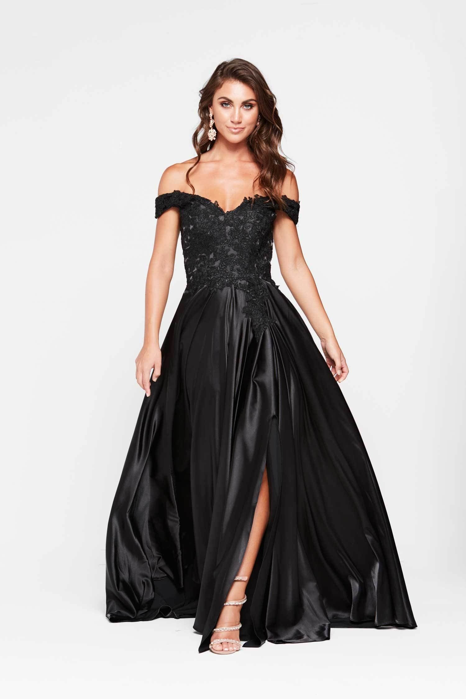 Freya Dress - Black Off Shoulder Lace Satin Split Full Length Gown