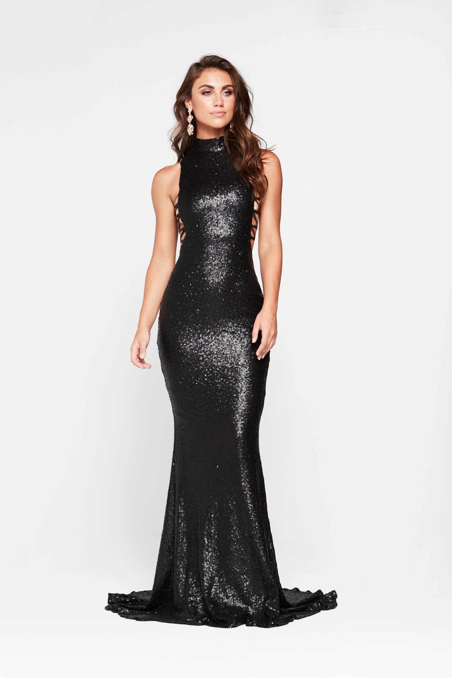 Zuzu Dress - Black Sequin High Neck Criss Cross Full Length Gown