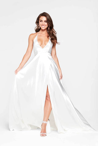 A&N Amani - White Satin Dress with Side Slit and Low Back