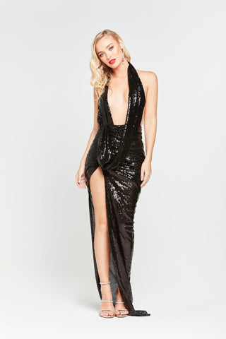 A&N Lala - Black Sequin Ruched Cowl Neck Gown with Low Back