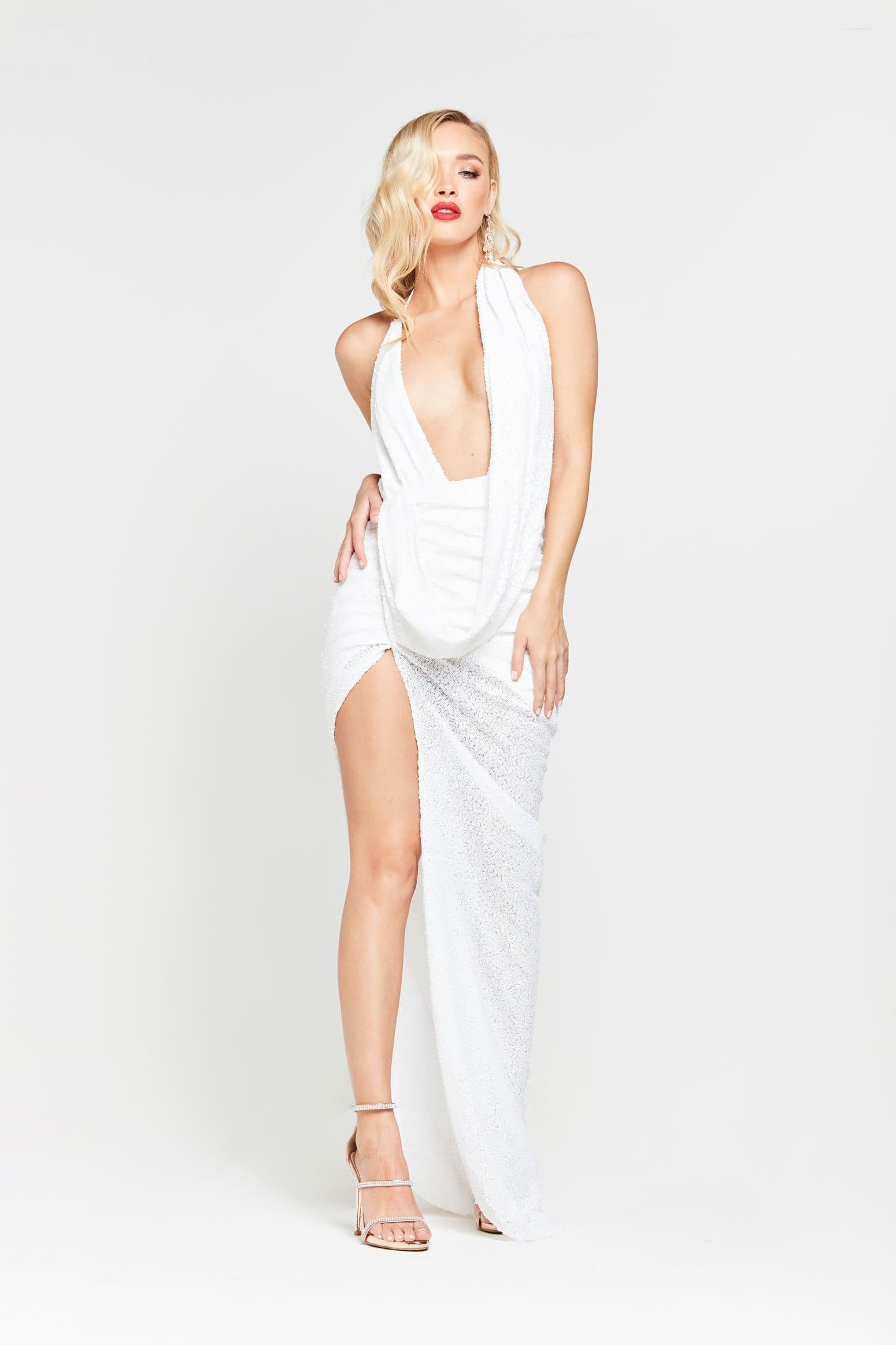 A&N Lala - White Sequin Gown with Ruched Cowl Neck and Side Slit