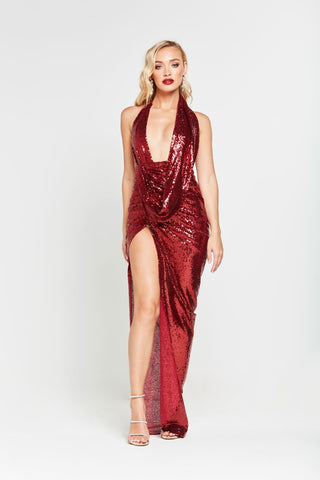A&N Lala - Deep Red Sequin Gown with Ruched Cowl Neckline & Low Back