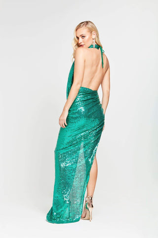 A&N Lala - Emerald Sequin Gown with Ruched Cowl Neck and Side Slit