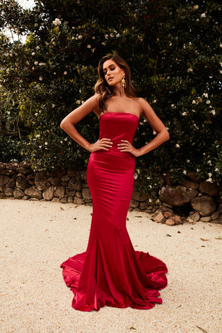 Audreyanna - Red Satin Gown with Strapless Neckline and Mermaid Train