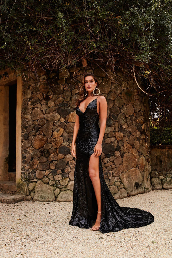 Armanah Formal Gown - Black Sequin V Neck Low Back Split Mermaid Dress