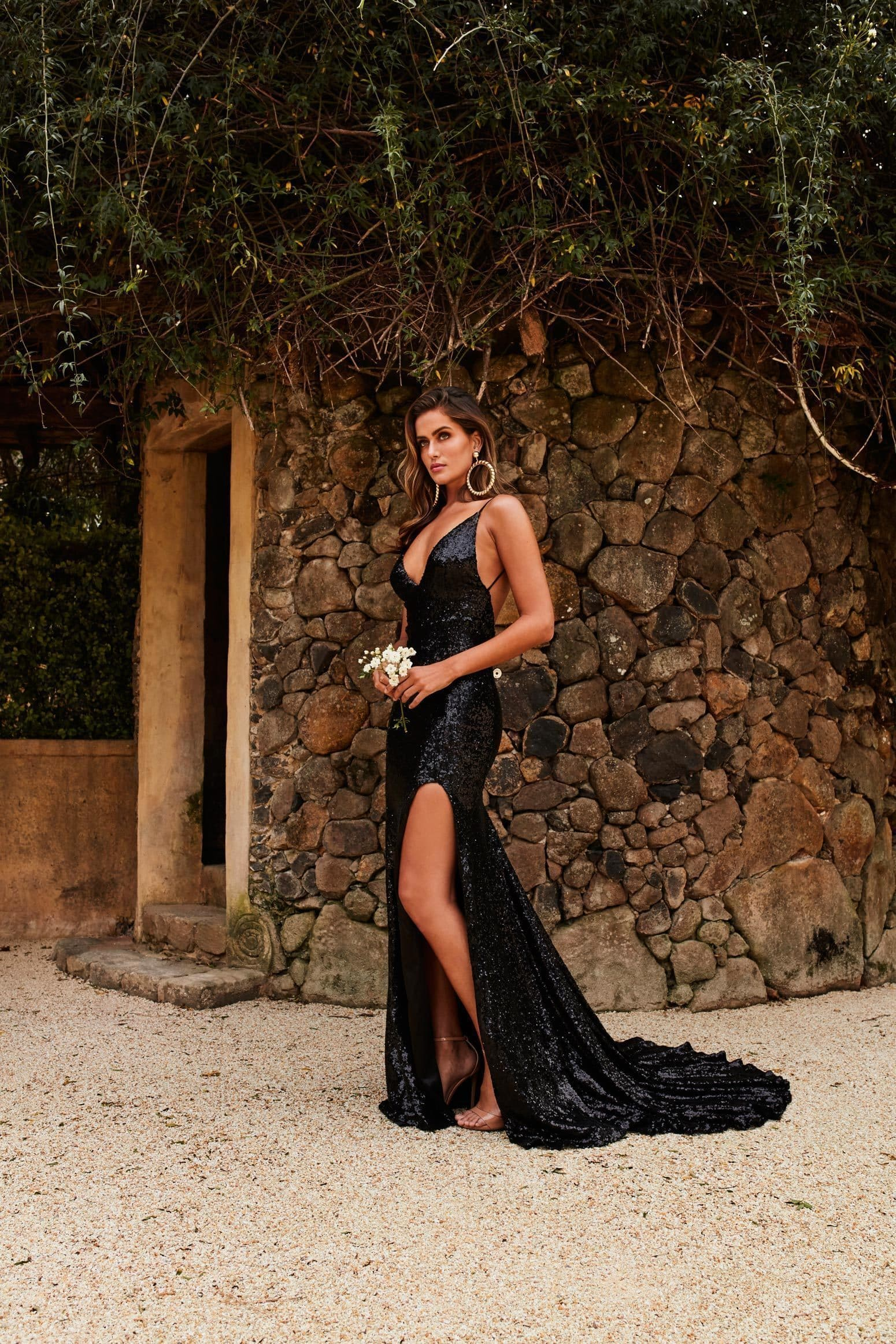 Armanah - Black Sequin Gown with V Neckline, Low Back & Side Slit