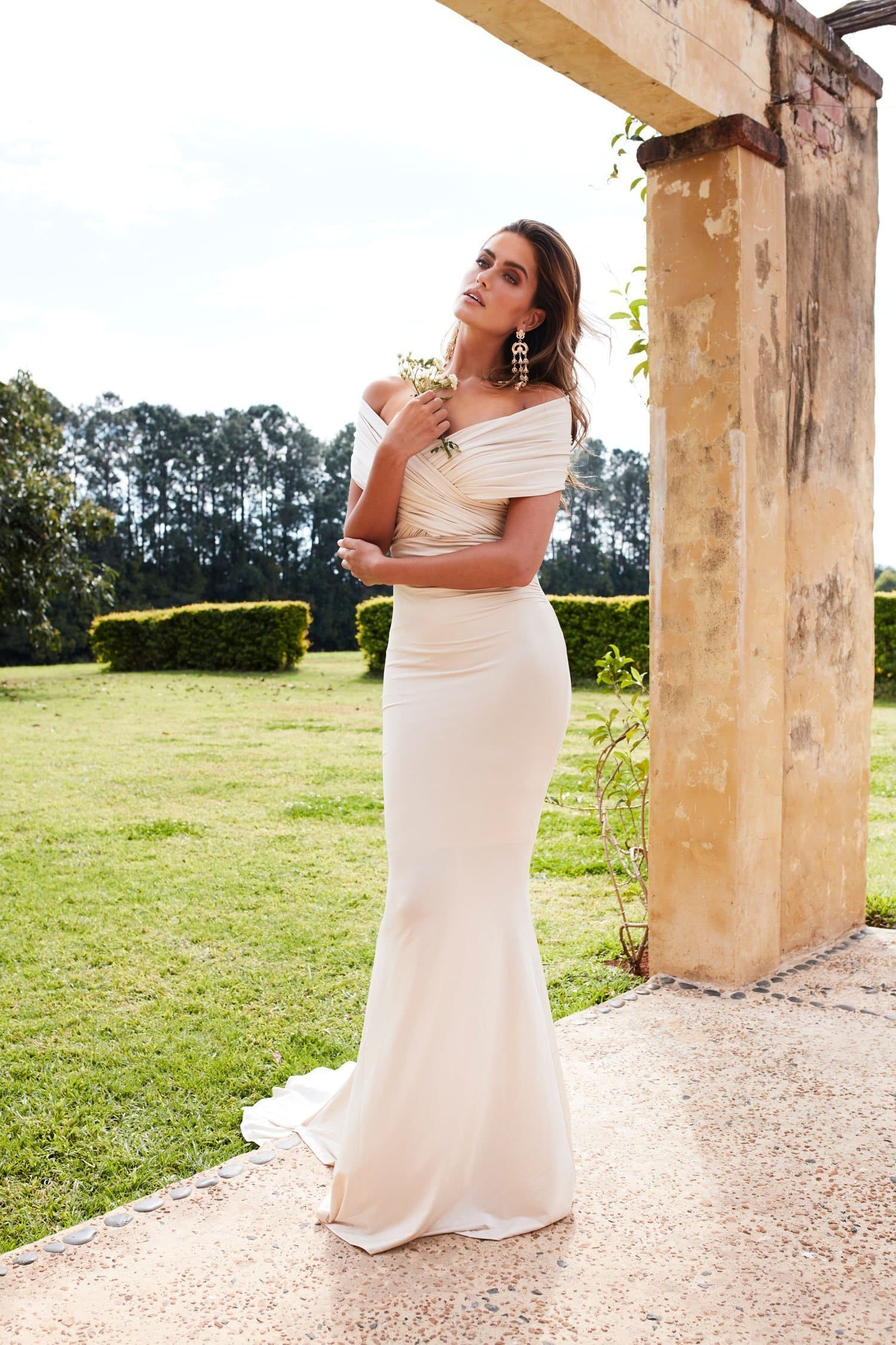 Campanule - Oyster Jersey Gown with Ruched Off-Shoulder Detailing